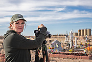 Sharon Wilson at Lara Cemetery in the Permian Basin on the outskirts of Pecos, Texas.