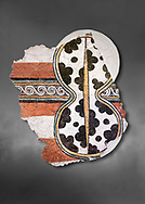 The 'figure of eight shield'  Mycenaean fresco wall painting, Mycenae Acropolis, Greece Cat No 11671. National Archaeological Museum, Athens. Grey art Background <br /> <br /> 12th-14th cent BC.<br /> <br /> The Mycenaean 'figure of eight shield' were originaly made of cows hide and was the symbol of a goddess of war. .<br /> <br /> If you prefer to buy from our ALAMY PHOTO LIBRARY  Collection visit : https://www.alamy.com/portfolio/paul-williams-funkystock/mycenaean-art-artefacts.html . Type -   Athens    - into the LOWER SEARCH WITHIN GALLERY box. Refine search by adding background colour, place, museum etc<br /> <br /> Visit our MYCENAEN ART PHOTO COLLECTIONS for more photos to download  as wall art prints https://funkystock.photoshelter.com/gallery-collection/Pictures-Images-of-Ancient-Mycenaean-Art-Artefacts-Archaeology-Sites/C0000xRC5WLQcbhQ