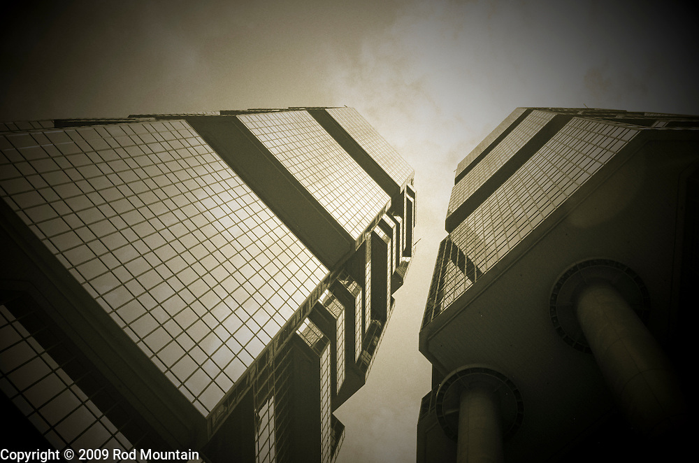 Looking up towards the top of the Lippo Towers in Hong Kong.