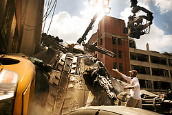 Left to right: Mark Wahlberg and Director/Executive Producer Michael Bay on the set of TRANSFORMERS: THE LAST KNIGHT, from Paramount Pictures.