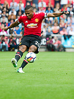 Football - 2017 / 2018 Premier League - Swansea City vs. Manchester United<br /> <br /> Antonio Valencia of Manchester United croses the ball, at Liberty Stadium.<br /> <br /> COLORSPORT/WINSTON BYNORTH