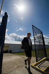 © licensed to London News Pictures. 12/05/2011. Bedfont, UK.  A BA  cabin crew worker leaving a union meeting at Bedfont Football club near Heathrow today (12/05/2011).  British Airways and the Unite union have reached an agreement to settle their long-running industrial dispute. A mass meeting of Unite members voted almost unanimously to put a new deal to a ballot of around 7,000 workers, with a recommendation to accept. See special instructions for usage rates. Photo credit should read Ben Cawthra/LNP