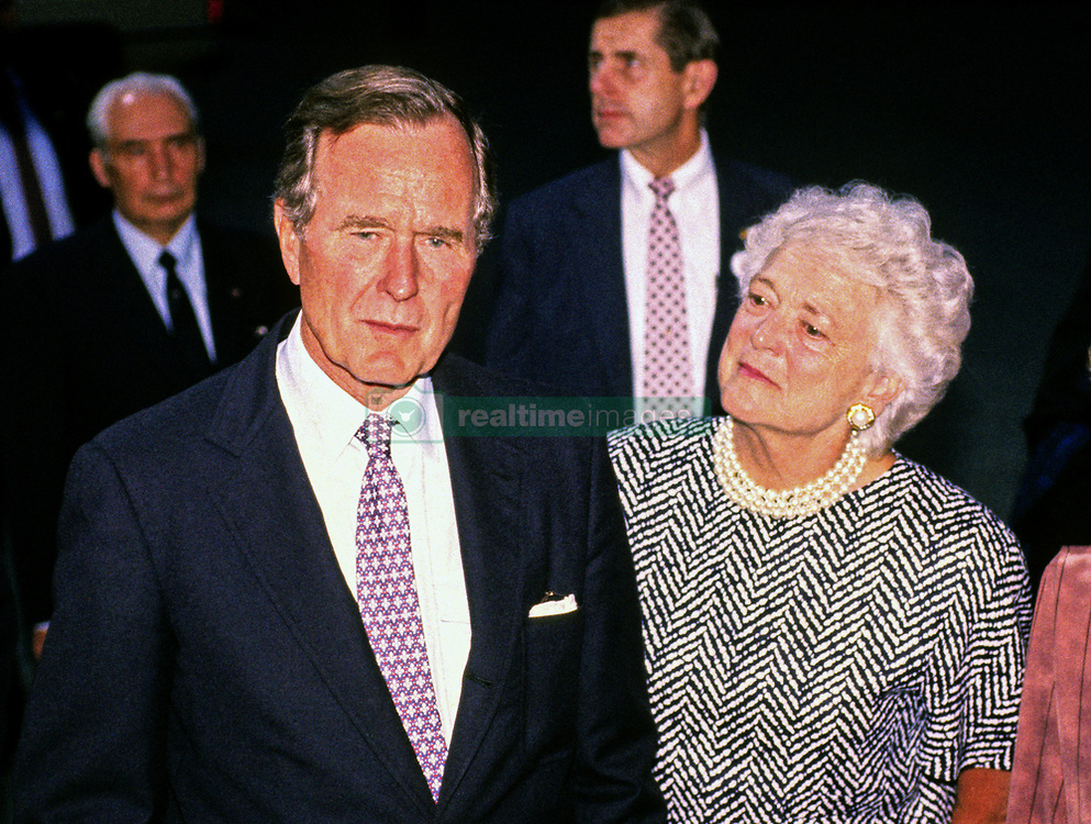 United States President George H.W. Bush holds an impromptu press conference with President Mikhail Gorbachev of the Union of Soviet Socialist Republics after their day of talks at Camp David, the presidential retreat near Thurmont, Maryland on Saturday, June 2, 1990. It was the conclusion of three days of talks between the two leaders. First lady Barbara Bush looks on from the right. Photo by Ron Sachs / CNP /ABACAPRESS.COM