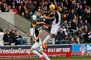 Simeon Jackson of St Mirren pushed in he back as he jumps to header the ball during the Ladbrokes Scottish Premiership match between St Mirren and Hibernian at the Simple Digital Arena, Paisley, Scotland on 29th September 2018.