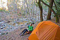 Relaxing at camp, Sykes Hot Springs, Big Sur, California.