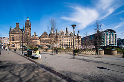 Sheffield Town Hall and the Peace gardens  one of the areas of Sheffield left almost deserted after Venues and shops close in to try and stem the spread of the Coronavirus<br /> Monday 22 March 2020<br /> <br /> www.pauldaviddrabble.co.uk<br /> All Images Copyright Paul David Drabble - <br /> All rights Reserved - <br /> Moral Rights Asserted -