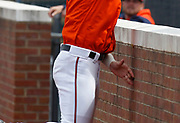 Virginia out fielder Joe McCarthy crashes into a wall after making a spectacular catch during game 3 of the series against Florida State Sunday at Davenport Field. McCarthy injured his middle finger on his left hand in the play and was taken out of the game. Photo/The Daily Progress/Andrew Shurtleff