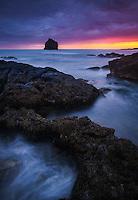 Sunset along the rocky coastline on the Reykjanes Peninsula, Iceland