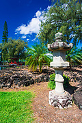 Japanese lantern and bridge at Lili'uokalani Park and garden, Hilo, The Big Island, Hawaii USA