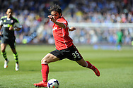 Cardiff city's Fabio Da Silva in action. Barclays Premier league match, Cardiff city  v Stoke city at the Cardiff city stadium in Cardiff, South Wales on Saturday 19th April 2014. pic by Andrew Orchard, Andrew Orchard sports photography,