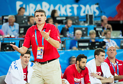 Velimir Perasovic, head coach of Croatia during basketball match between Netherlands and Croatia at Day 5 in Group C of FIBA Europe Eurobasket 2015, on September 9, 2015, in Arena Zagreb, Croatia. Photo by Vid Ponikvar / Sportida