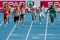 Gregor Kokalovic (5L) as fourth and Bostjan Fridrih as third Slovenia sprinter competes during  the 4x100m Mens Relay Heats during day five of the 20th European Athletics Championships at the Olympic Stadium on July 31, 2010 in Barcelona, Spain.  (Photo by Vid Ponikvar / Sportida)