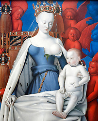 painting of Mary and Jesus surrounded by Seraphim and Cherubs by Jean Fouquet at Royal Museum of Fine Arts  in Antwerp Belgium