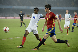 October 28, 2017 - Kolkata, West Bengal, India - Spain Juan Miranda (jersey 3) and England Steven Sessegnon (jersey 10) in actions the FIFA U 17 World Cup India 2017 Final match in Kolkata. Player of England and Spain in action during the FIFA U 17 World Cup India 2017 Final match on October 28, 2017 in Kolkata. England wins FIFA U 17 World Cup 5 - 2 goals against Spain. (Credit Image: © Saikat Paul/Pacific Press via ZUMA Wire)