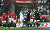 Rugby Union - 2017 British & Irish Lions Tour of New Zealand - Second Test: New Zealand vs. British & Irish Lions<br /> <br /> Sonny Bill Williams of The All Blacks is sent of by referee Jerome Garces as Kieran Read of The All Blacks watches on at Westpac Stadium, Wellington.<br /> <br /> COLORSPORT/LYNNE CAMERON