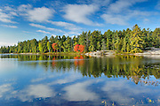 Reflection on Grundy Lake in early autumn<br /> Grundy Lake Provincial Park<br /> Ontario<br /> Canada