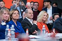 06 DEC 2019, BERLIN/GERMANY:<br /> Malu Dreyer (L), SPD, Ministerpraesidentin Rheinland-Pfalz, Olaf Scholz (M), SPD, Bundesfinanzminister, Manuela Schwesig, SPD, Ministerpraesidentin Mecklenburg-Vorpommern, SPD Bundesprateitag, CityCube<br /> IMAGE: 20191206-01-097<br /> KEYYWORDS: Party Congress, Parteitag