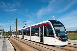 Modern tram in Edinburgh Scotland united Kingdom