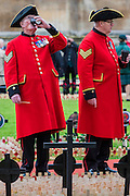 Chelsea pensioners warm up with a coffee - The Duke of Edinburgh, Life Member, Royal British Legion, accompanied by Prince Harry, visit the Field of Remembrance at Westminster Abbey  - 10 November 2016, London.