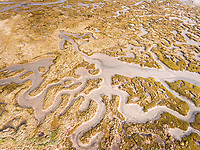 Aerial Photography of the Ria Formosa lagoon, natural Park  located in the Algarve, in southern Portugal.