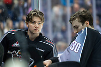 KELOWNA, BC - JANUARY 4: Goalies Drew Sim #1 and David Tendeck #30 of the Vancouver Giants stands at the bench during a time out against the Kelowna Rockets at Prospera Place on January 4, 2020 in Kelowna, Canada. (Photo by Marissa Baecker/Shoot the Breeze)