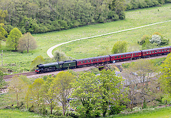 Licensed to London News Pictures. 20/05/2021. Dorking, UK. Train fans and members of the public watch as the Flying Scotsman streams through the Surrey Hills, on its way to Dorking and Reigate on a loop from London. The Flying Scotsman built in 1923 and capable of 100mph makes its first trip since the covid restrictions last year. Photo credit: Alex Lentati/LNP