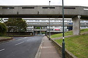 A pedestrian walkway connecting tower blocks on Thamesmead Estate, social housing run by the Peabody Trust, Greenwich & Bexley borough, London, UK. (photo by Andrew Aitchison / In pictures via Getty Images)