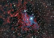 The Flaming Star Nebula (IC 405) in constellation Auriga surrounding the bluish star AE Aurigae.