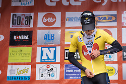 Emma Johansson dons the leader's jersey  in the Lotto Cycling Cup series - Le Samyn des Dames 2016, a 113km road race from Quaregnon to Dour, on March 2, 2016 in Hainaut, Belgium.