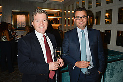 Left to right, RUPERT WESSON Director of Debretts and ADRIAN CHRISTOFIDES at a cocktail party hosted by Mrs Sonia Falcone and Mrs Kimberley Robson Chairman of Le Bal de la Riveria 2016 for the forthcoming Ball held at Flemings Hotel, Half Moon Street, London on 27th September 2016.
