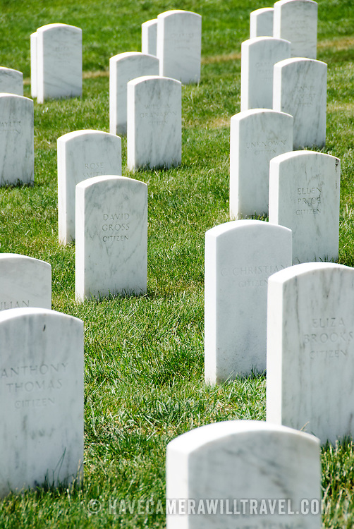 White marble headstones at Arlington National Cemetery near Washington DC.
