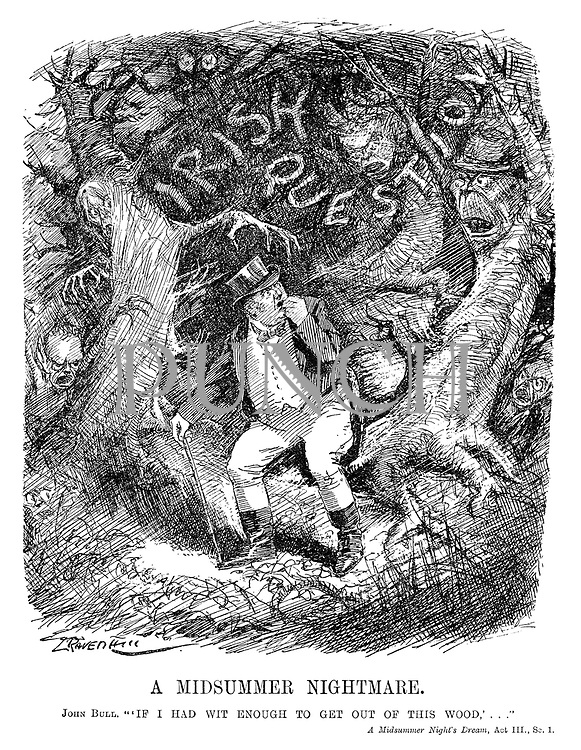 """A Midsummer Nightmare. John Bull. """"'If I had wit enough to get out of this wood,'..."""" A Midsummer Night's Dream, Act III, Sc.1. (cartoon showing John Bull trying to escape the frightening Irish Question forest in the InterWar era)"""