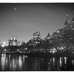 Black and white shot taken from Central Park on a cold winter night.