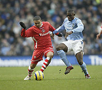 Photo: Aidan Ellis.<br /> Manchester City v Charlton Athletic. The Barclays Premiership. 12/02/2006.<br /> City's Micah Richards and Charlton's jerome Thomas