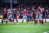 James Perch of Scunthorpe United (14) puts his hands over his face after missing a chance during the EFL Sky Bet League 1 match between Scunthorpe United and Sunderland at Glanford Park, Scunthorpe, England on 19 January 2019.