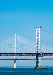 View of the Forth Road Bridge and new Queensferry Crossing bridge spanning the Firth of Forth in Scotland, UK, United Kingdom