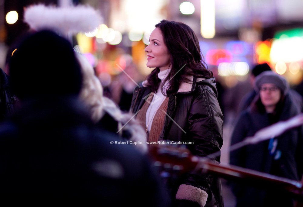 Actress and singer Katherine McPhee on the set of NBC's new show SMASH  in Times Square in New York. Dec 9, 2011...Photo by Robert Caplin.