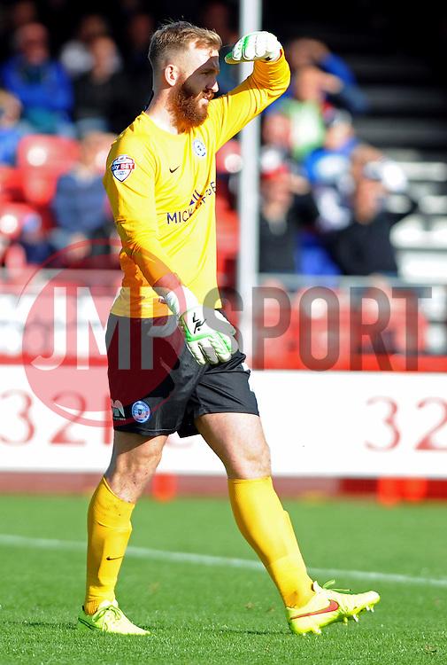 Peterborough United's Ben Alnwick shields eyes from sun - photo mandatory by-line David Purday JMP- Tel: Mobile 07966 386802 - 11/10/14 - Crawley Town v Peterbourgh United - SPORT - FOOTBALL - Sky Bet Leauge 1  - London - Checkatrade.com Stadium