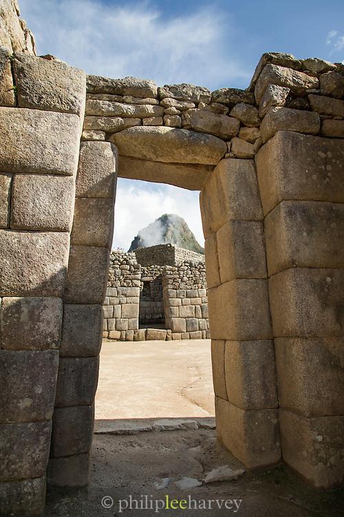 Doorway at Machu Picchu. Peru, South America