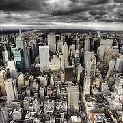 A cloudy scene looking northward from the Empire State Building's observation deck