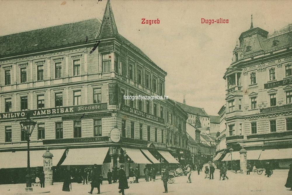 Zagreb : Duga-ulica. <br /> <br /> Impresum[S. l. : S. n., 1908].<br /> Materijalni opis1 razglednica : tisak ; 9 x 14 cm.<br /> Vrstavizualna građa • razglednice<br /> ZbirkaGrafička zbirka NSK • Zbirka razglednica<br /> Formatimage/jpeg<br /> PredmetZagreb –– Ulica Pavla Radića<br /> SignaturaRZG-RADI-3<br /> Obuhvat(vremenski)20. stoljeće<br /> NapomenaRazglednica je putovala 1908. godine. • Poleđina razglednice namijenjena je samo za adresu.<br /> PravaJavno dobro<br /> Identifikatori000954644<br /> NBN.HRNBN: urn:nbn:hr:238:141035 <br /> <br /> Izvor: Digitalne zbirke Nacionalne i sveučilišne knjižnice u Zagrebu