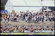 Sydney, AUSTRALIA, GBR M8+,  Bow Andrew LINDSAY, Ben HUNT-DAVIS, Simon DENNIS, Louis ATTRILL, Luka GRUBOR, Kieran WEST, Fred SCARLETT and Steve TRAPMORE, cox Rowley DOUGLAS. 2000 Olympic Regatta, West Lakes Penrith. NSW.  [Mandatory Credit. Peter Spurrier/Intersport Images] Sydney International Regatta Centre (SIRC) 2000 Olympic Rowing Regatta00085138.tif
