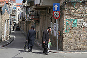 Israel , Jerusalem the narrow alleyway of the Jewish Mea Shearim neighbourhood