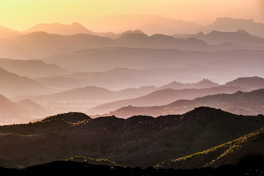 The characteristic mountainous landscape  of Lalibela surroundings taken at sunset.