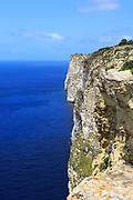 Coastal clifftop landscape view westwards at Ta' Cenc cliffs, island of Gozo, Malta