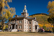 San Juan County Courthouse, 1557 Greene St, Silverton, Colorado, 81433, USA. Silverton is a former silver mining camp, now the federally-designated Silverton Historic District. Durango is linked to Silverton by the Durango and Silverton Narrow Gauge Railroad, a National Historic Landmark. Silverton no longer has active mining, but subsists on tourism, maintenance of US 550 (which links Montrose with Durango), mine pollution remediation, and retirees.