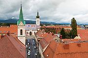 Saint Mark's Church from Lotrščak Tower in old town Gradec, Zagreb, Croatia