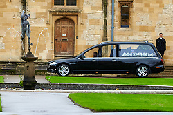 © Licensed to London News Pictures. 14/10/2019. Oxford, UK. Funeral of PC Andrew Harper in Christ Church, Oxford. Members of the Thames Valley Police and other forces lined the route through the center of Oxford before the cortege arrives at Christ Church Catherdal through the Tom Gate. PC Harper is the 11th police officer this decade to be killed while on duty. Photo credit: Cliff Hide/LNP