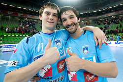 Sebastian Skube and David Spiler of Slovenia celebrate after the handball match between National teams of Slovenia and Poland of Qualifications for EURO 2012, on March 9, 2011 in Arena Stozice, Ljubljana, Slovenia. Slovenia defeated Poland 30-28. (Photo By Vid Ponikvar / Sportida.com)