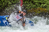 Action at the annual Bigfork Whitewater Festival on the Swan River in Bigfork, Montana, USA